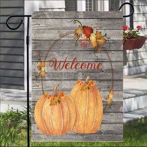 Pumpkin Duo on Wood Garden Flag